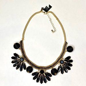 INC Statement Necklace Gold w/ Black Rhinestones